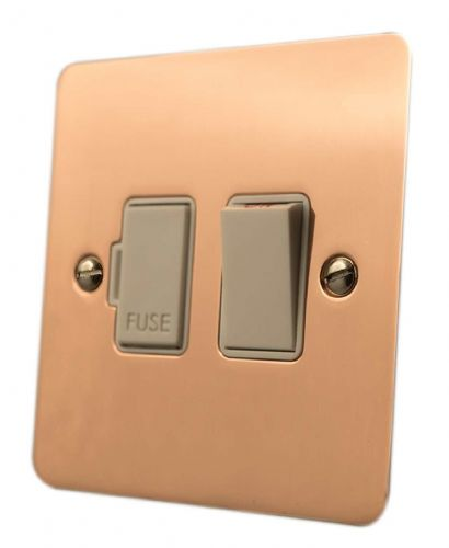 G&H FBC57W Flat Plate Bright Copper 1 Gang Fused Spur 13A Switched